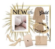"""""""New Gold Rush"""" by lizzyjames ❤ liked on Polyvore featuring Lizzy James, Yves Saint Laurent, Tomas Maier and Jimmy Choo"""