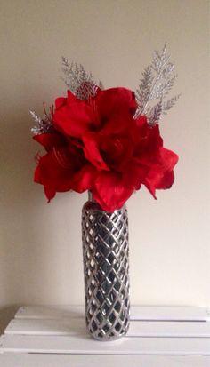 52 best diy silk flower arrangements images on pinterest floral 15 off w coupon code winter15 red amaryllis silk flower arrangement in silver lattice mightylinksfo