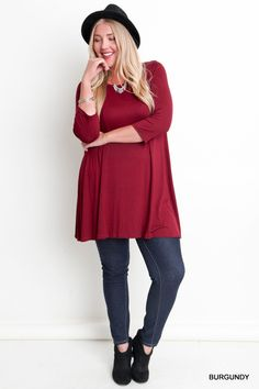 3/4 Sleeve Relaxed Fit Top - Burgundy