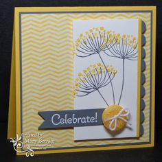 SU! Summer Silhouettes and Topsy-Turvy Celebrations (sentiment) stamp sets; Sunshine & Sprinkles DSP; colors are  Whisper White, Daffodil Delights and Basic Gray - Mary Brown