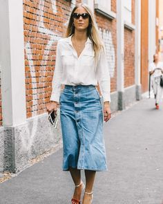 denim skirt with white blouse