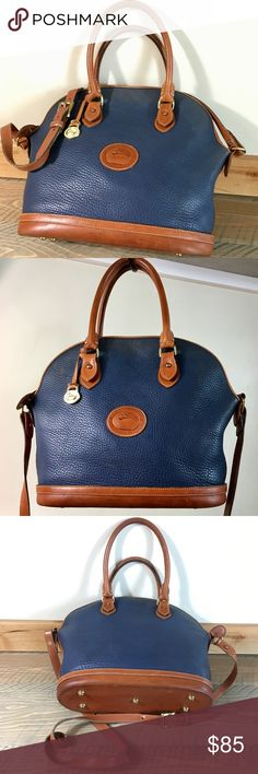 """🇬🇧DOONEY & BOURKE NORFOLK AIRFORCE BLUE🇬🇧 🇬🇧DOONEY & BOURKE NORFOLK AIRFORCE BLUE🇬🇧 PEBBLED ALL WEATHER LEATHER WITH SOLID HARDWARE STITCHING AND TRIM. LITTLE TARNISH ON TAG & ZIP PULL BUT STRUCTURALLY SOLID. DISCOLORATION ON SHELL AND A BIT ON INSIDE SUEDE LINING BUT HAS BEEN CLEANED. DOES NOT HAVE THE SNAP POCKET INSERTS. 10""""x10.5""""x5.5"""" WITH SOLID 7"""" DROP HANDLES AND 45"""" ADJ STRAP. AUTHENTIC Dooney & Bourke Bags"""