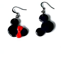 Mickey and Minnie Mouse earrings  polymer clay by twocatsboutique, $11.00