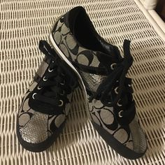 Coach Tennis Shoes Authentic and cute as a button! Worn possibly 3 times. Like new shape.....I'm looking for something different. They are very clean!!! Coach Shoes Sneakers