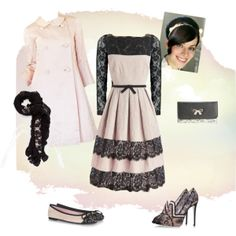 """Vintage Inspired Black Lace & Blush"" by estes9011 on Polyvore"