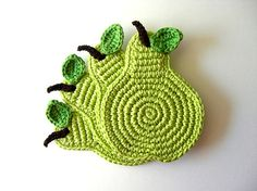 Green Light Pear Coasters . Beverage Drink Juice Pastel Lime Leaves Vegan Decor Crochet Fruit Collection - Set of 4