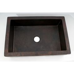 Ambiente x Plain Apron Single Well Hammered Copper Farmhouse Kitchen Sink
