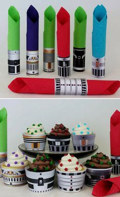 Cool Star Wars inspired lightsaber printable napkin rings and cupcake wrappers. These re perfect for every Star Wars inspired party. The kids will love it! #ad #starwars #printable #napkinring #cupcakewrapper #partydecor #starwarsparty #digitaldownload