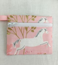 Pink Unicorn Zipper Coin Purse, Credit Card, Earbud, iPod Pouch by NancyPKdesigns on Etsy