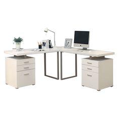 Carey White Contemporary L-Desk