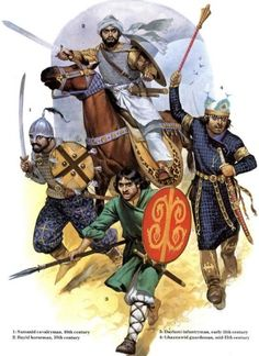 Moorish soldiers of the 10th and 11th centuries: Samanid cavalryman, Bayid horseman, Baylami infantryman, Ghaznawid guardsman