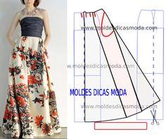 SAIA FLORAL LONGA - Moldes Moda por Medida