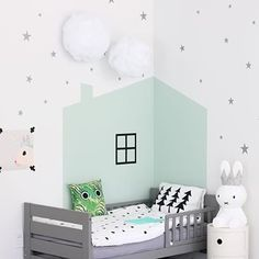 Lovely boys room - boys bedroom ideas and inspiration - soft green house printed on wall, miffy, lots of white