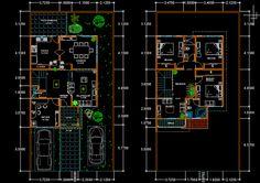 Modern Duplex House Designs Elvations + Plans   CAD Library