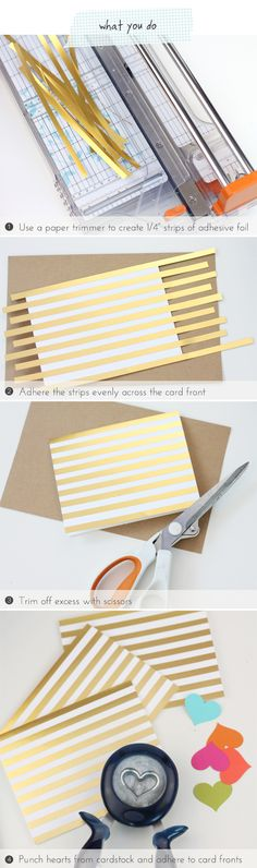 Easy Like Sunday Morning: Foil Striped Stationery. Would be great for DIY manila folders! Card Making Tips, Making Ideas, Diy Paper, Paper Crafts, Snail Mail Pen Pals, Diy Notebook, Love Craft, Diy Invitations, Card Making Inspiration