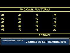 Video Quiniela Nacional Nocturna Viernes 23 de Septiembre de 2016 Pizarra del sorteo nocturno en el recinto de Loteria Nacional a las 21:00