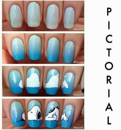 Snoopy nails discovered by Xxxxreset on We Heart It Easy Nail Polish Designs, Cute Nail Designs, Nail Art Disney, Snoopy Nails, Christmas Nail Polish, Crazy Nail Art, Animal Nail Art, Nagel Gel, Creative Nails