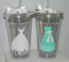 Bridesmaid gift cups! very simple! These would be cute to use at bachelorette party!!