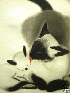 Siamese cat and kitten, Clare Turlay Newberry