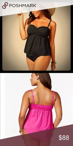 Kenneth Cole Plus Size Black RuffleTankini 2X $140 Rock classic and chic beach style in this plus size babydoll tankini by Kenneth Cole Reaction Bandeau neckline Non-removable straps; adjustable Soft cups; side wire Twist at chest, babydoll silhouette Nylon/elastane •High-waist plus size bikini bottoms are an essential for chic and classic swim style Paneled front Pull-on style Sits at waist above hips Full bottom coverage Lined; tummy control 🗣Not smoke free home🗣 Both pieces are size 2X…