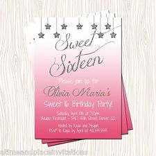 Silver Glitter Stars Pink Blue Sweet 16 Sixteen Birthday Invitation - Any Color
