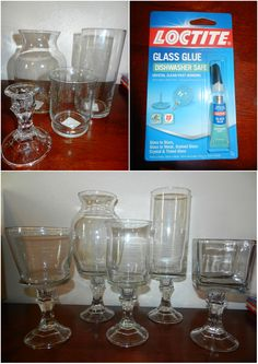 Dollar Tree candlestick holders and vases plus glass glue equals simple inexpensive decorative vases