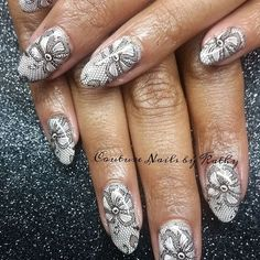 Lovely lacy look by @couturenailsbykathy on Instargram.  She's used Messy Mansion Nail Stamping Plate MM44.