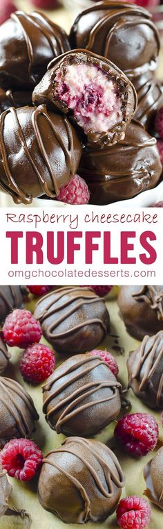 Raspberry Cheesecake Truffles are wonderfully rich and easy to make truffles - most decadent truffle you have ever tried!Chocolate Raspberry Cheesecake Truffles are wonderfully rich and easy to make truffles - most decadent truffle you have ever tried! Brownie Desserts, Mini Desserts, Chocolate Desserts, Easy Desserts, Chocolate Truffles, Cake Chocolate, Chocolate Gifts, Chocolate Chips, Weight Watcher Desserts