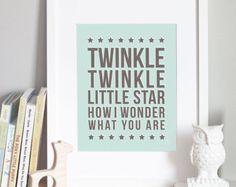 Twinkle Twinkle Nursery Art Print CUSTOM COLOR 5x7 by sugarfresh