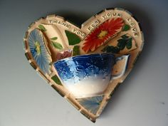 Home decor Mother's day gift Original one of a kind mosaic Heart shaped wall Art with 100 year old Vintage antique cup as Mosaic pieces