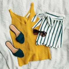 1. Stripes 2. Marigold yellow 3. Navy slides and sunnies. So Summer Fresh! / Fashion Style Ideas Tips