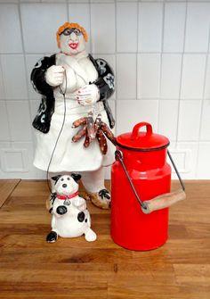 Red Enamel Milk Jug or Jar Beautiful  Color in Great by KimBuilt, $29.00