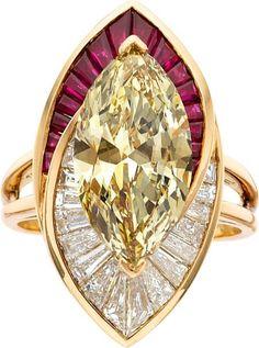 Colored Diamond, Diamond, Ruby, Gold Ring, Oscar Heyman Bros.