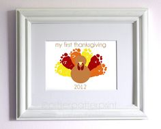 Baby's First Thanksgiving Decoration - Baby Footprint Turkey - Personalized Baby's 1st Thanksgiving - Orange, Red, Yellow, Brown Gift. $30.00, via Etsy.