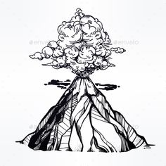 Vector Hand Drawn Sketch of the Volcano. by itskatjas Hand drawn volcano. Nature disaster. The eruption and smoke against the sky with clouds. Isolated vector illustration. Tattoo, tra