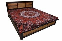 Handicrunch Mandala Bohemian wall hanging Tapestry Cotton Printed Double Bed Sheet Bedspread Flat Sheet Bed Cover Brown #DoubleBedSheets