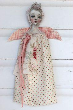 original textile fiber wall ooak art doll ...polka door fadedwest, $49.00