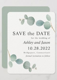 A popular wedding Save the Date card with sprigs on eucalyptus greenery in soft watercolor shades of silver green sage. Beach Wedding Invitations, Save The Date Invitations, Save The Date Cards, Party Invitations, Modern Wedding Save The Dates, Our Wedding, Wedding Ideas, Country Wedding Colors, Sage Green Wedding