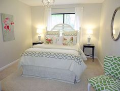 Pretty guest room put together for less than 200 dollars! If we could afford a house with a guest room :)