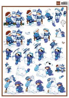 3dHm072 Snoesje & snowman - Hetty Meeuwsen - Knipvellen - Hobbynu.nl