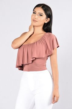- Available in Off White and Mauve - One Shoulder - Cropped - Modal Fabric - Made in USA - 95% Rayon, 5% Spandex