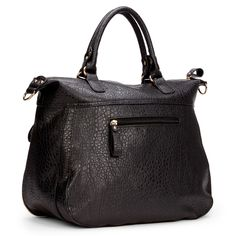 Women's Black Faux Leather Convertible Side Zip Tote | Amelia by Sole Society