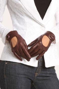 Prada Ladies' Cutout Gloves In Brown.