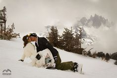 """Trash the dress"" my way  @Katie Simpson work on your photo skiing/boarding skills"