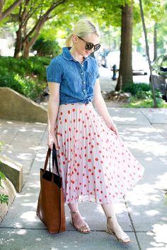 Poor Little It Girl - Polka Dot Midi Skirt for Summer - @poorlilitgirl