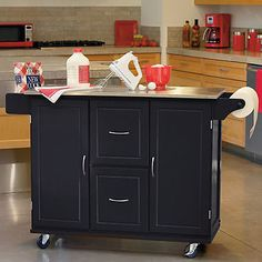 Jefferson Rolling Kitchen Cart With Stainless Steel Top And Towel Rack