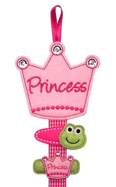 """Princess Crown Clippie Keeper: made with felt. """"Princess"""" can be changed to a name if desired."""