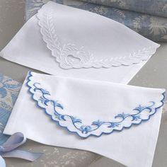 Embroidered cotton envelopes by Cologne & Cotton (via tea for joy)