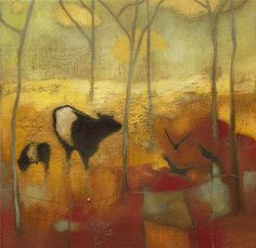 Lesley McLaren. Not sure why I like this.  Calm mood.  Peaceful subjects. A little realism some expressionism. Even though colors r warm still presents a peaceful feel.  Maybe early am.  Cow with calf