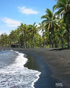 Black sand beach on Hawaii.